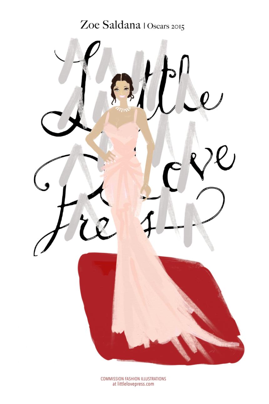 zoe saldana fashion illustration bilingual