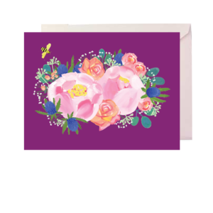 Roses and Peonies Folded Note Card