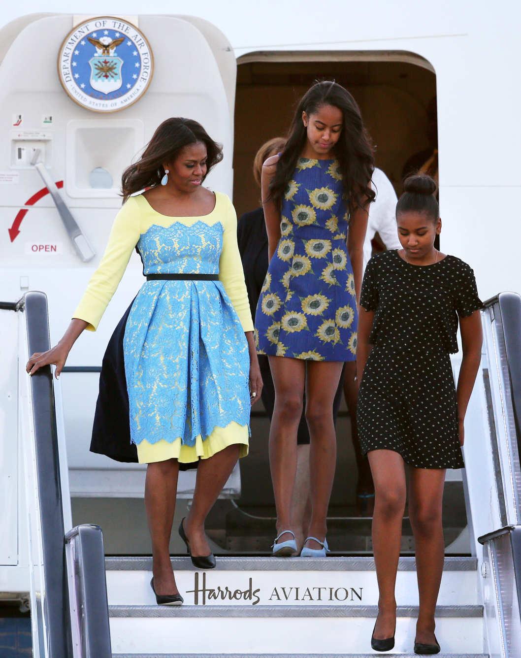 michelle-shasha-malia-obamas-London-let-girls-learn