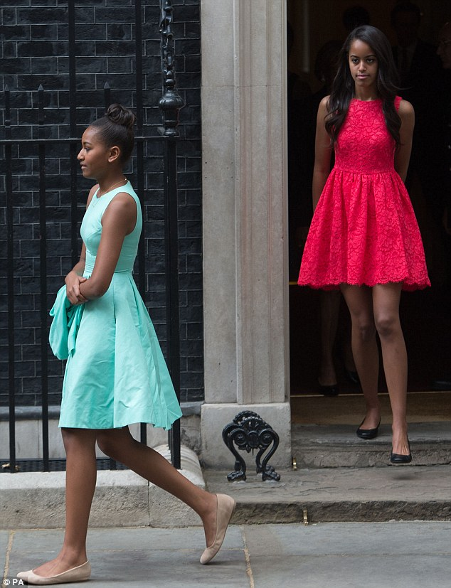 Malia and Sasha Obama visit London for Let Girls Learn tour in Shoshanna dress