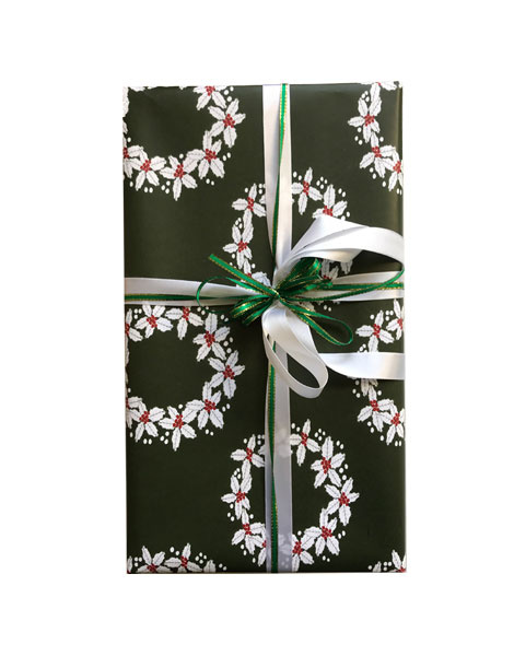 holly wreath wrapping paper