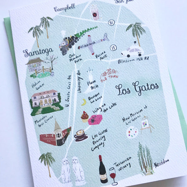 Los Gatos Map Note Card