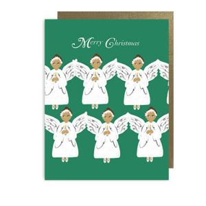 Snow Angles (dark skin color) Merry Christmas Holiday Note Card