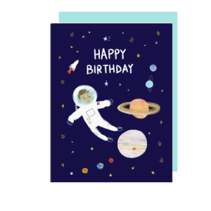 Astronaut Happy Birthday Card with Planets and Stars