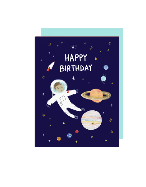 little love press astronaut happy birthday folded note card