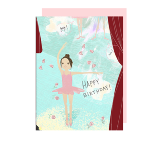 Ballerina on Stage Happy Birthday Card