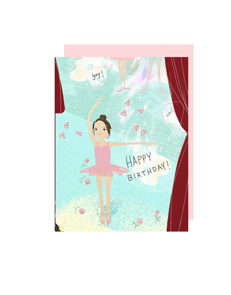 little love press ballerina happy birthday folded note card