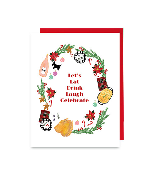 little love press eat drink holiday note card