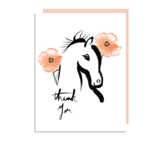 Equesterian Thank You Note Card with Poppies