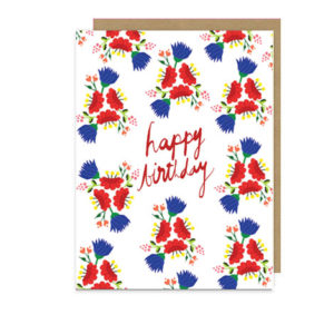 Folk Floral Art Happy Birthday Note Card