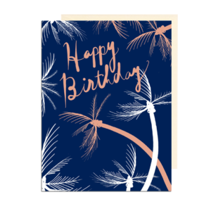 Tropical Happy Birthday Palm Trees Note Card