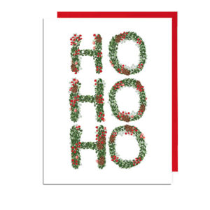 Hand-illustrated Wreath Letters Ho Ho Ho Holiday Card