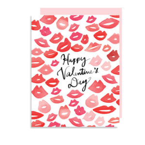 Watercolor Kisses for Valentine's Day Folded Note Card