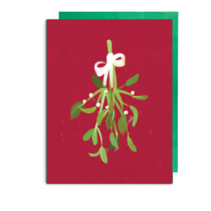 Mistletoe Christmas Kiss Folded Note Card