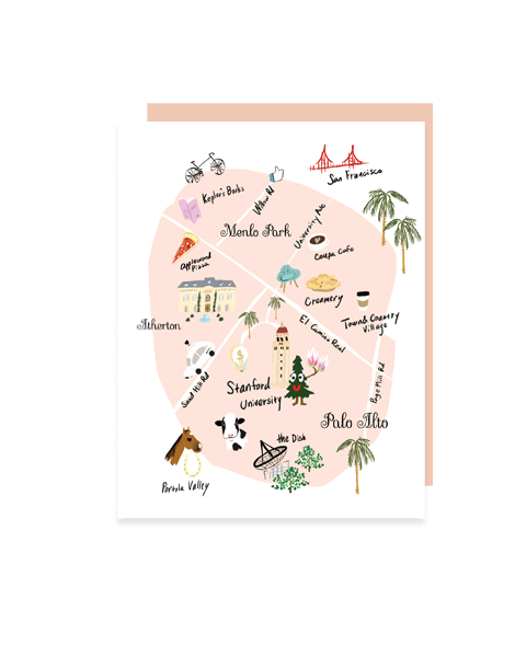 little love press Palo Alto map note card