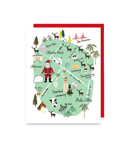 little love press Palo Alto map holiday note card
