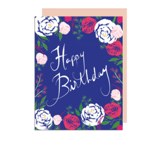 Peonies and Roses Happy Birthday Note Card
