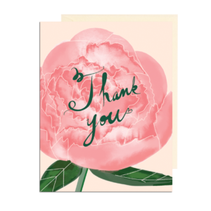 Hand Illustrated Peony Thank You Folded Note Card