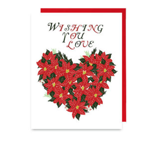 Poinsettia Hearts Holiday Note Card