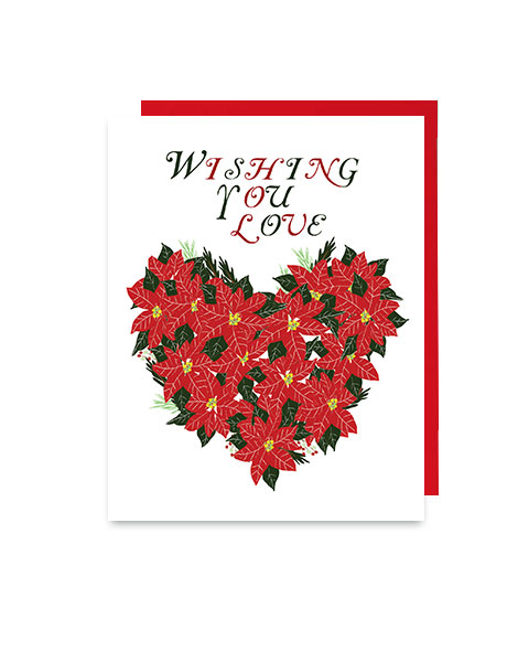little love press poinsettia hearts holiday note card