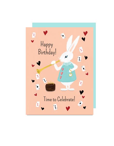 little love press rabbit birthday folded note card