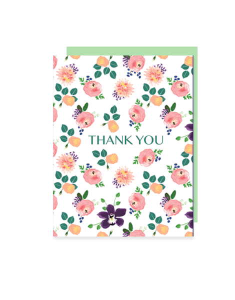 little love press roses thank you folded note card