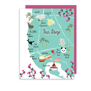 San Diego CA Map Note Card