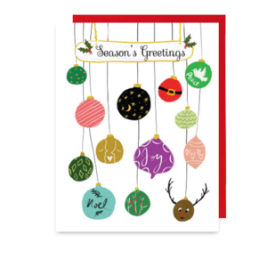 Season's Greetings Christmas Ornaments Note Card