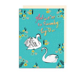Swanky Swans Folded Note Card