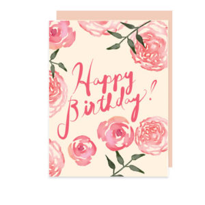 Happy Birthday Folded Note Card with Watercolor Roses