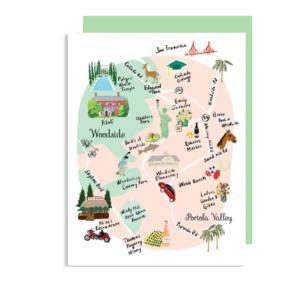 Woodside CA Map Note Card