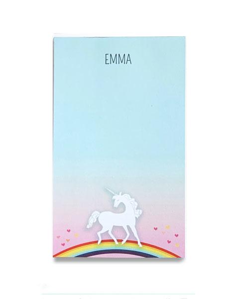 littlelovepress personalized unicorn notepad