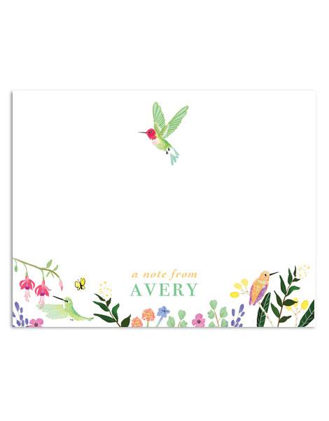 littlelovepress personalized hummingbird stationery notecard set