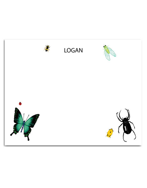 littlelovepress personalized insects notecard set for kids