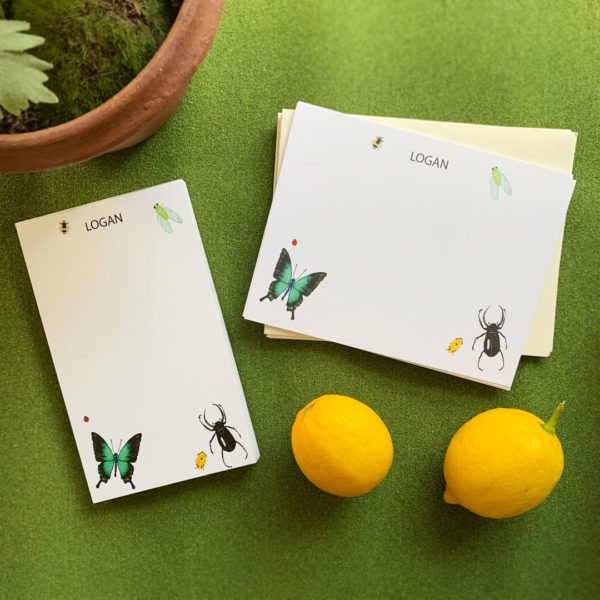 littlelovepress personalized insects notecard for kids