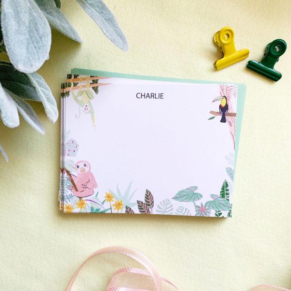 littlelovepress personalized rainforest notecard set for kids