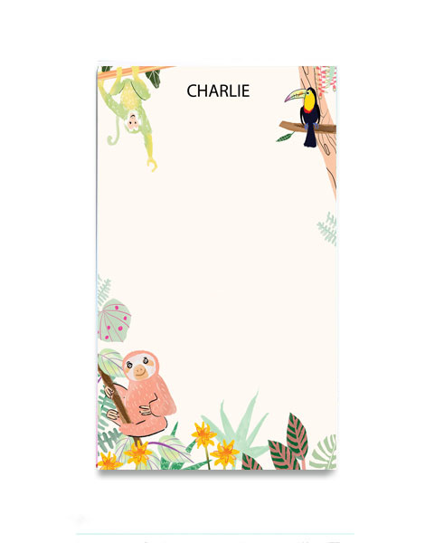 littlelovepress personalized rainforest notepad for kids