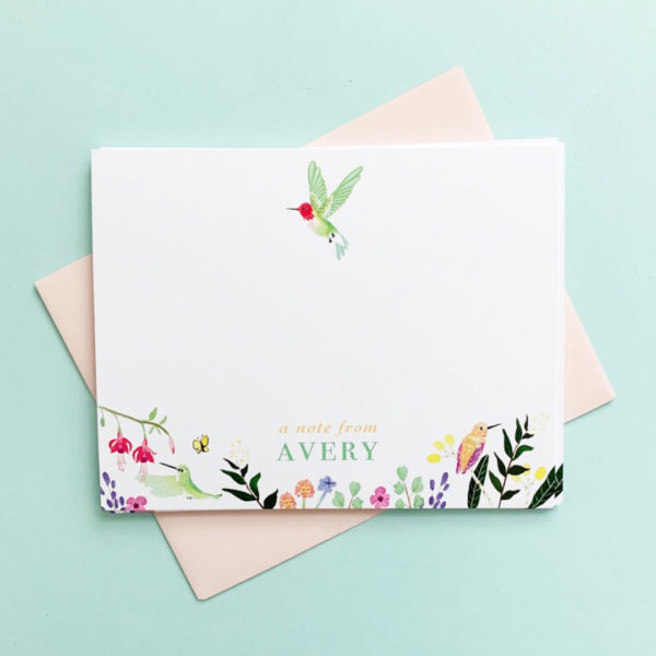 little love press personalized hummingbird stationery notecards set
