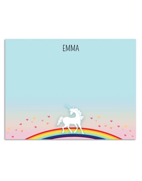 littlelovepress personalized unicorn notecard set for kids