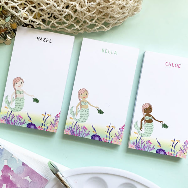 personalized mermaid notepad for kids skin tone options