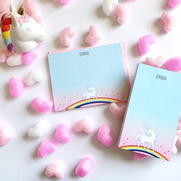 personalized unicorn stationery notecard set for kids